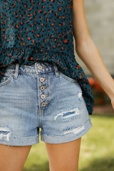 High Waist Distressed Shorts Front View
