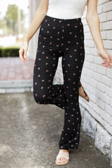 Black - Floral Flare Pants from Dress Up