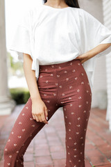 Floral Flare Pants in Brown Front View