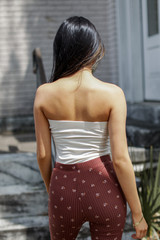 Strapless Bodysuit in Ivory Back View
