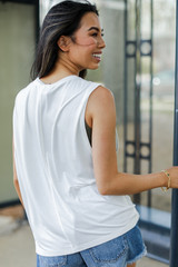 Muscle Tank in White Back View