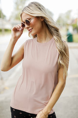Taupe - Model wearing a Muscle Tank