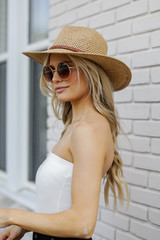 Straw Fedora Hat in Tan Side View on model
