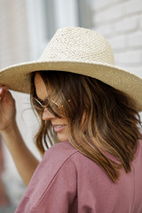 Ivory -  Straw Fedora Hat in Ivory Side View