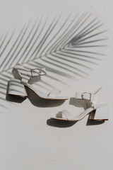 White - Flat Lay of Ankle Strap Heels