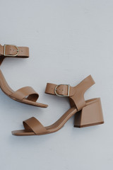 Close Up of Ankle Strap Heels in Tan