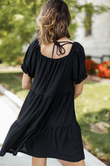 Eyelet Tiered Dress in Black Back View