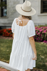 Eyelet Tiered Dress in White Back View