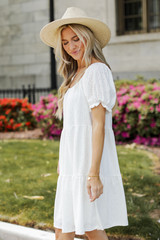 Eyelet Tiered Dress in White Side View