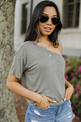 Olive - One-Shoulder Cropped Tee from Dress Up