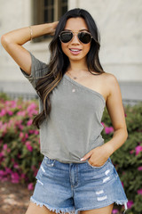 Model wearing a One-Shoulder Cropped Tee