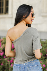 One-Shoulder Cropped Tee Back View