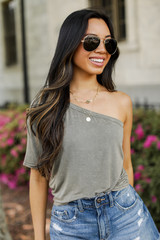 Dress Up model wearing a One-Shoulder Cropped Tee