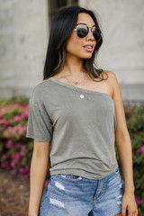 One-Shoulder Cropped Tee Front View