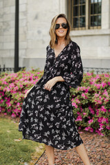 Black - Floral Midi Dress from Dress Up