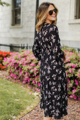 Floral Midi Dress Back View