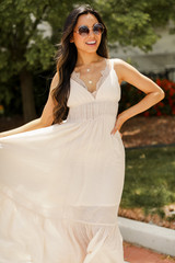 Maxi Dress in Blush Front View