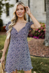 Navy -  Floral Dress Front View
