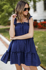 Navy - Tie-Strap Tiered Dress Front View