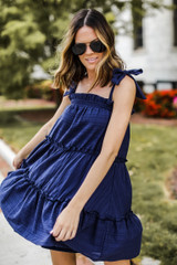 Navy - Tie-Strap Tiered Dress from Dress Up