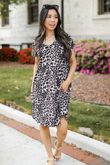 Leopard T-Shirt Dress Front View