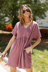Mauve - Dress Up model wearing a Babydoll Dress with sunglasses