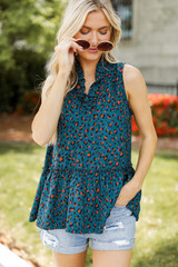 Teal - Leopard Sleeveless Blouse from Dress Up