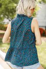 Leopard Sleeveless Blouse Back View