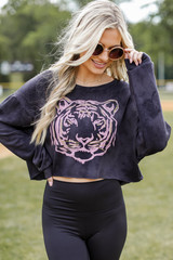 Charcoal - Tiger Cropped Pullover