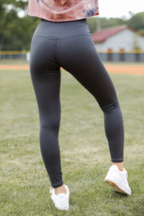 High-Waisted 7/8 Leggings in Charcoal Back View