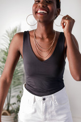 Charcoal - Dress Up model wearing the Everyday V-Neck Tank