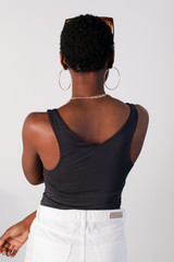 Everyday V-Neck Tank in Charcoal Back View