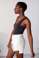 Everyday V-Neck Tank in Charcoal Side View