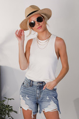 White - Model wearing the Everyday Tank