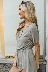 Henley Romper in Olive Side View