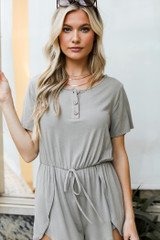 Olive - Henley Romper Front View on model