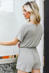 Henley Romper in Olive Back View