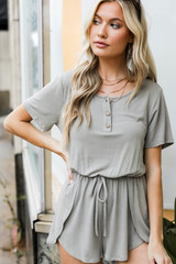 Olive - Henley Romper Front View