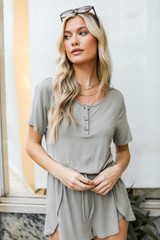 Henley Romper in Olive Front View