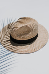 Close Up of a Straw Fedora Hat