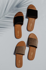 Flat Lay of both colors of the Slide Sandals