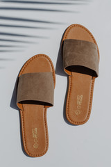 Flat Lay of Slide Sandals in Taupe