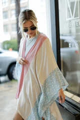 Dress Up model wearing a Floral Color Block Kimono