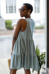 Button Front Tiered Dress Side View