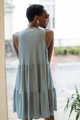 Button Front Tiered Dress Back View