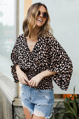Black - Spotted Surplice Blouse from Dress Up