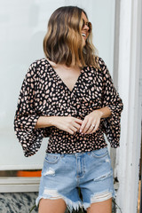 Spotted Surplice Blouse Front View