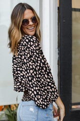 Spotted Surplice Blouse Side View