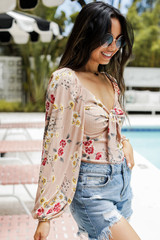 Floral Top in Blush Side View