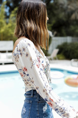 Floral Top in Ivory Side View
